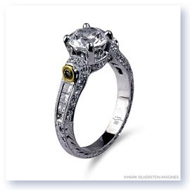Mark Silverstein Imagines Hand Engraved 18K White and Yellow Gold White and Yellow Diamond Engagement Ring