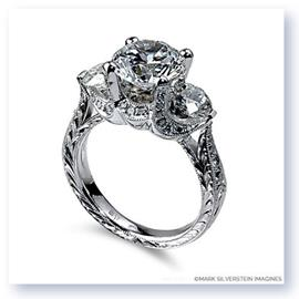 Mark Silverstein Imagines Hand Engraved 18K White Gold Three Stone 2 Carat Setting Engagement Ring