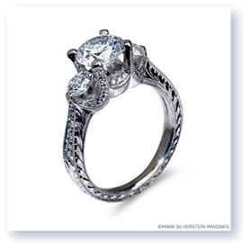 Mark Silverstein Imagines Hand Engraved 18K White Gold Three Stone Engagement Ring