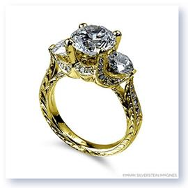 Mark Silverstein Imagines Hand Engraved 18K Yellow Gold Three Stone 2 Carat Setting Engagement Ring