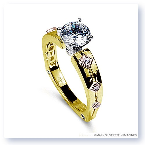 Mark Silverstein Imagines 18K Yellow Gold Pink Diamond Euro Style Engagement Ring
