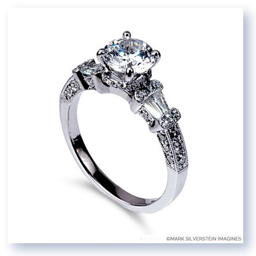 Mark Silverstein Imagines 18K White Gold Trapezoid Side Diamond Engagement Ring