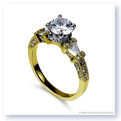 Mark Silverstein Imagines 18K Yellow Gold Trapezoid Side Diamond Engagement Ring