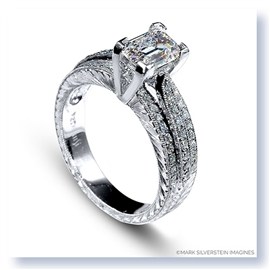 Mark Silverstein Imagines Hand Engraved 18K White Gold Three Row Diamond Engagement Ring