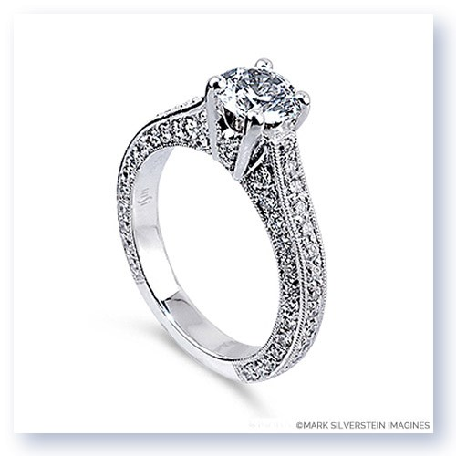 Mark Silverstein Imagines 18K White Gold Three Side Diamond Engagement Ring