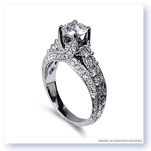 Mark Silverstein Imagines Hand Engraved 18K White Gold Cathedral Style Diamond Engagement Ring