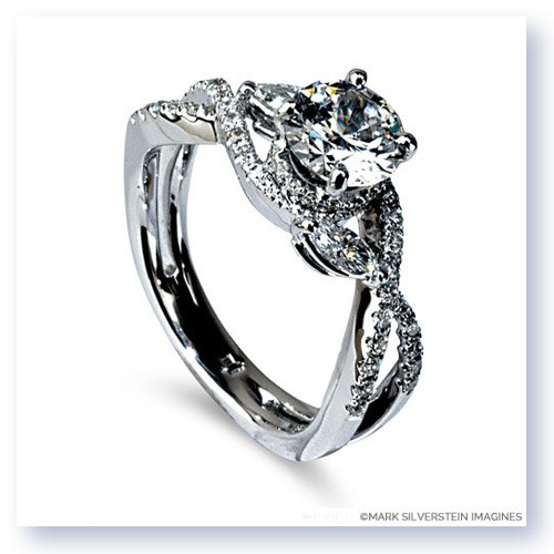Mark Silverstein Imagines 18K White Gold Marquise Side  Crossover Diamond Engagement Ring