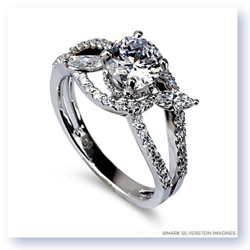 Mark Silverstein Imagines 18K White Gold Split Shank Marquise Leaf Diamond Engagement Ring