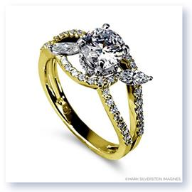 Mark Silverstein Imagines 18K Yellow Gold Split Shank Marquise Leaf Diamond Engagement Ring