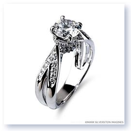 Mark Silverstein Imagines 18K White Gold Split Shank Cathedral Style Diamond Engagement Ring