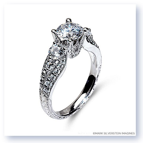 Mark Silverstein Imagines Hand Engraved 18K White Gold Tapered Side Stone Diamond Engagement Ring