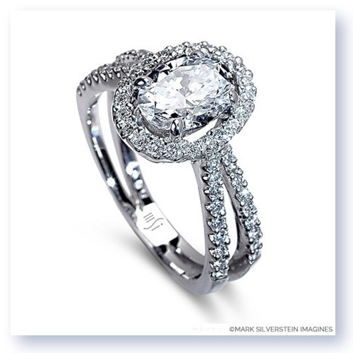 Mark Silverstein Imagines 18K White Gold Oval Center Split Shank Diamond Engagement Ring