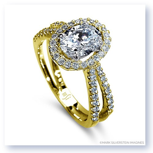 Mark Silverstein Imagines 18K Yellow Gold Oval Center Split Shank Diamond Engagement Ring