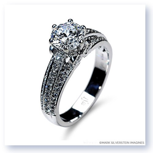 Mark Silverstein Imagines 18K White Gold Three Band Diamond Engagment Ring