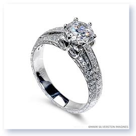 Mark Silverstein Imagines Hand Engraved 18K White Gold Three Band Diamond Engagment Ring