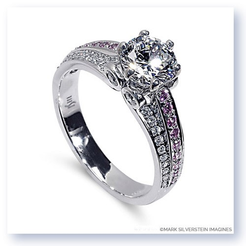 Mark Silverstein Imagines 18K White Gold Three Band Sapphire and Diamond Engagment Ring