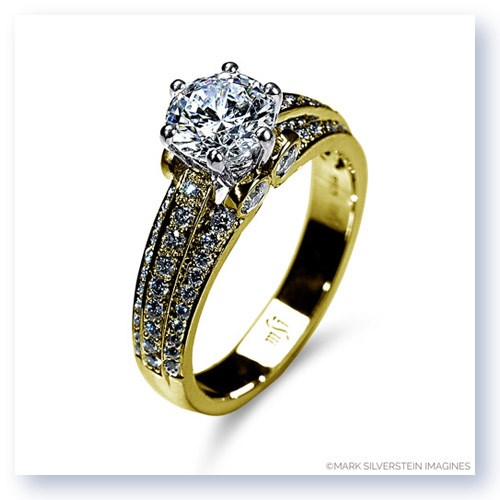 Mark Silverstein Imagines 18K Yellow Gold Three Band Diamond Engagment Ring