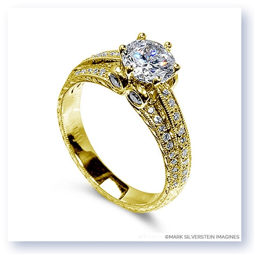 Mark Silverstein Imagines Hand Engraved 18K Yellow Gold Three Band Diamond Engagment Ring