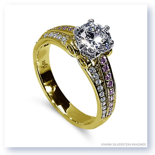 Mark Silverstein Imagines 18K Yellow Gold Three Band Sapphire and Diamond Engagment Ring