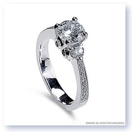 Mark Silverstein Imagines 18K White Gold High Polish Three Stone Diamond Engagement Ring