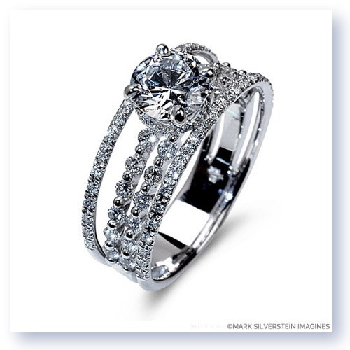 Mark Silverstein Imagines 18K White Gold Four Thread Diamond Engagement Ring