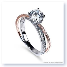 Mark Silverstein Imagines 18K White and Rose Gold Split Shank Angled Diamond Engagement Ring