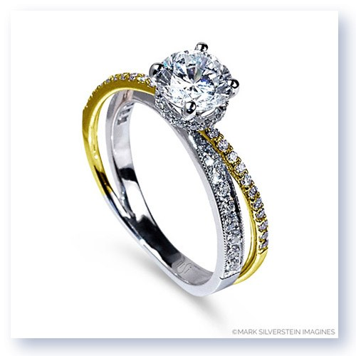 Mark Silverstein Imagines 18K White and Yellow Gold Split Shank Angled Diamond Engagement Ring