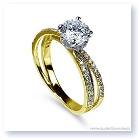 Mark Silverstein Imagines 18K Yellow Gold Split Shank Angled Diamond Engagement Ring