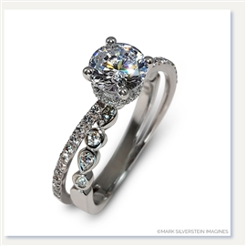 Mark Silverstein Imagines 18K White Gold Split Shank Angled Diamond Engagement Ring