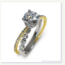 Mark Silverstein Imagines 18K White and Yellow Gold Split Shank Geometric Angled Diamond Engagement Ring