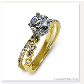 Mark Silverstein Imagines 18K Yellow Gold Split Shank Geometric Angled Diamond Engagement Ring