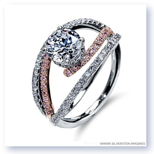 Mark Silverstein Imagines 18K White and Rose Gold Split Shank Bypass Diamond Engagement Ring