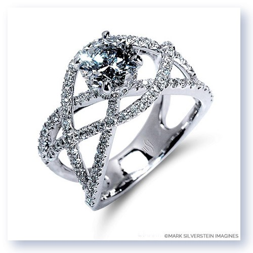 Mark Silverstein Imagines 18K White Gold Split Shank Crossover Diamond Engagement Ring