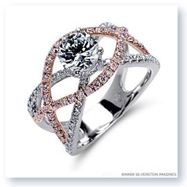 Mark Silverstein Imagines 18K White and Rose Gold Split Shank Crossover Pink and White Diamond Engagement Ring