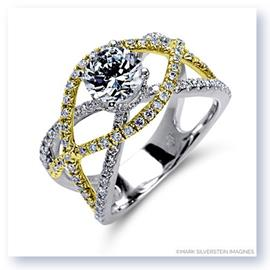 Mark Silverstein Imagines 18K White and Yellow Gold Split Shank Crossover Diamond Engagement Ring