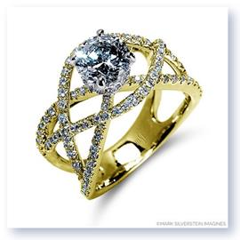 Mark Silverstein Imagines 18K Yellow Gold Split Shank Crossover Diamond Engagement Ring