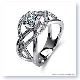 Mark Silverstein Imagines 18K White Gold Split Shank Crossover Semi Diamond Engagement Ring
