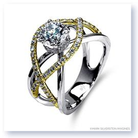 Mark Silverstein Imagines 18K White and Yellow Gold Split Shank Crossover Semi Diamond Engagement Ring