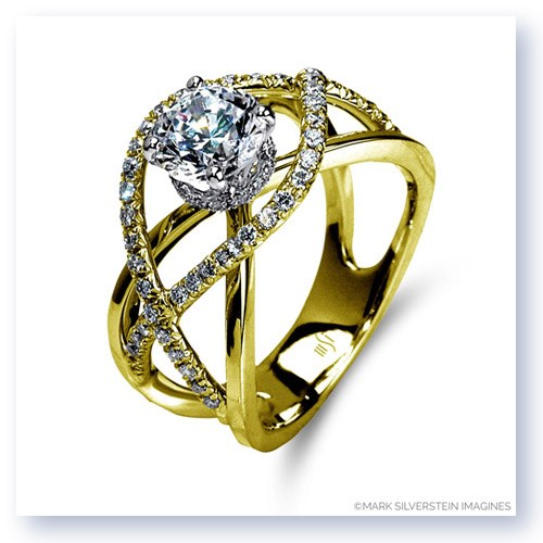 Mark Silverstein Imagines 18K Yellow Gold Split Shank Crossover Semi Diamond Engagement Ring