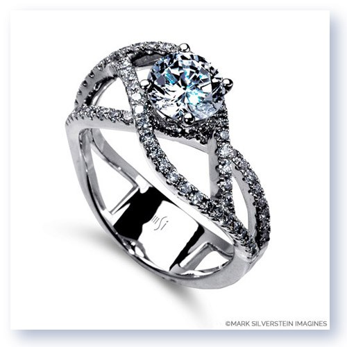 Mark Silverstein Imagines 18K White Gold Double Split Shank Diamond Engagement RIng