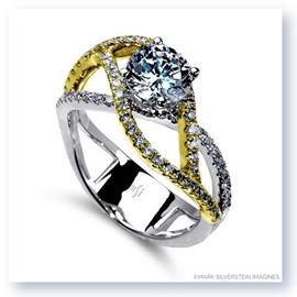 Mark Silverstein Imagines 18K White and Yellow Gold Double Split Shank Diamond Engagement RIng