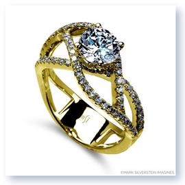 Mark Silverstein Imagines 18K Yellow Gold Double Split Shank Diamond Engagement RIng