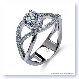 Mark Silverstein Imagines 18K White Gold Double Split Shank Semi Diamond Engagement RIng