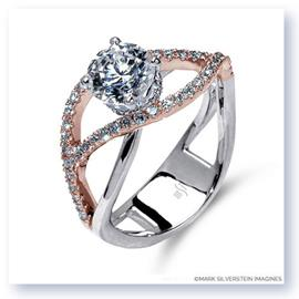 Mark Silverstein Imagines 18K White and Rose Gold Double Split Shank Semi Diamond Engagement RIng