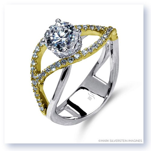 Mark Silverstein Imagines 18K White and Yellow Gold Double Split Shank Semi Diamond Engagement RIng