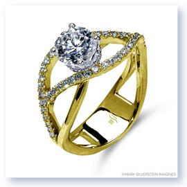 Mark Silverstein Imagines 18K Yellow Gold Double Split Shank Semi Diamond Engagement RIng