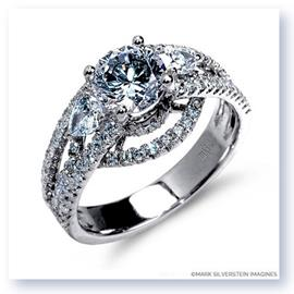 Mark Silverstein Imagines 18K White Gold Three Stone Cathedral Style Diamond Engagement Ring