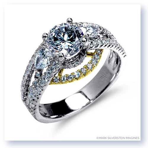 Mark Silverstein Imagines 18K White and Yellow Gold Three Stone Cathedral Style Diamond Enagagement Ring