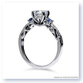 Mark Silverstein Imagines 18K White Gold Curled Leaf Diamond and Sapphire Engagement Ring