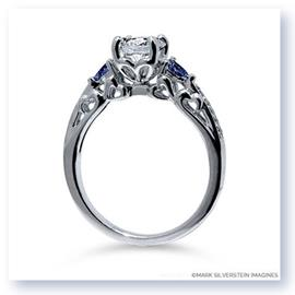Mark Silverstein Imagines 18K White Gold Heart Filigree Diamond and Sapphire Engagement Ring